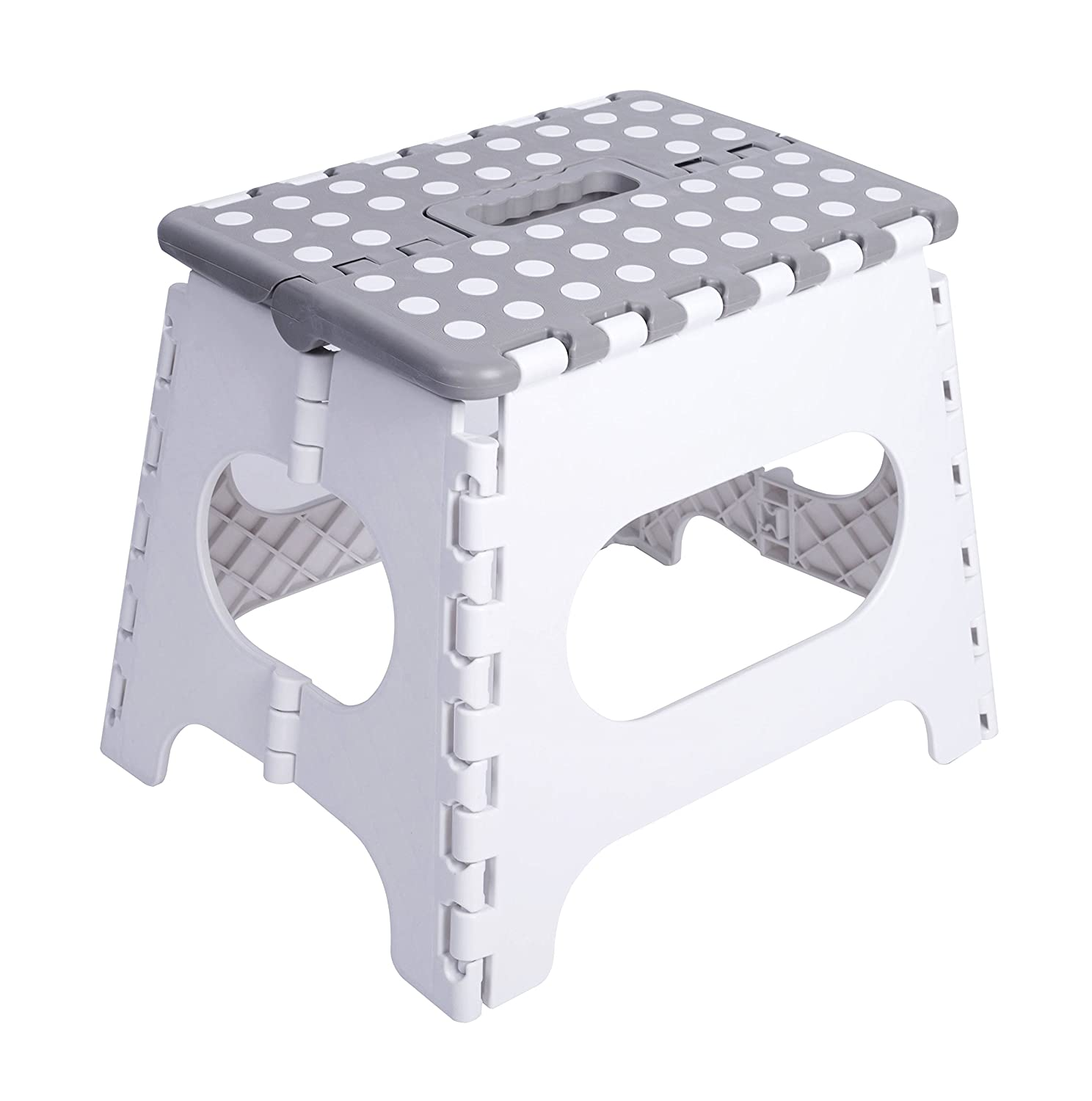 Unity 11 Non-Slip Foldable Step Stool Carrying Handle - Supports up to 300LBS - Easy Open - Perfect Kitchen, Bathroom, Bedroom & More Unity (White Grey/White Dots) Unity-Frankford