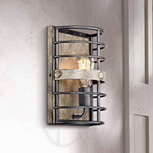 """Lexi Rustic Farmhouse Wall Light Sconce Pocket Oil Rubbed Bronze Hardwired 11 1/2"""" High Fixture for Bedroom Bathroom Hallway - Franklin Iron Works"""