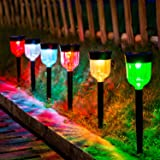 LED Solar Light Outdoor, SMY 6 Packs Solar Pathway Lights with 7 Color Changing Waterproof IP65, Auto On/Off Outdoor Solar La