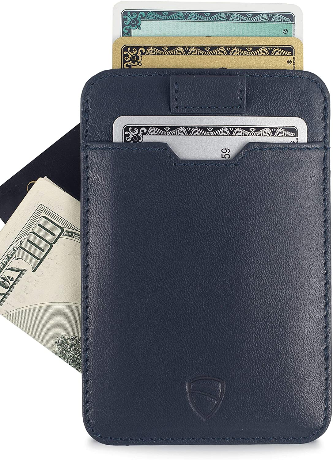 Ultra Thin Card Holder Design For Up To 10 Cards Top Quality Italian Leather Chelsea Slim Card Sleeve Mens Wallet with RFID Protection by Vaultskin Black
