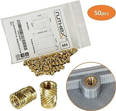 ruthex® inserto roscado M4 (50 piezas) | RX-M4x8,1 Casquillos ...