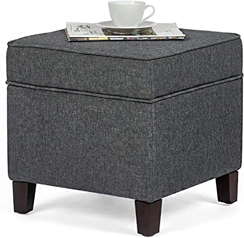 Edeco Square Fabric Storage Ottoman Foot Stool Comfortable Seat