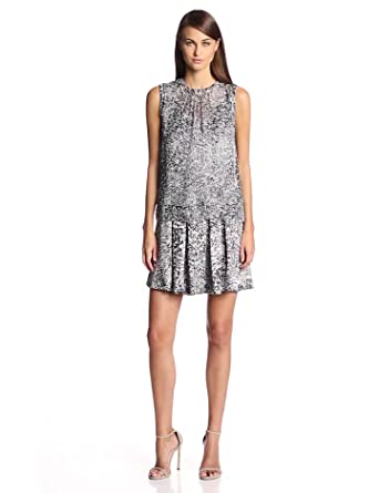 Rebecca Taylor Women's White Noise Drop Waist Dress, Black/White, 0