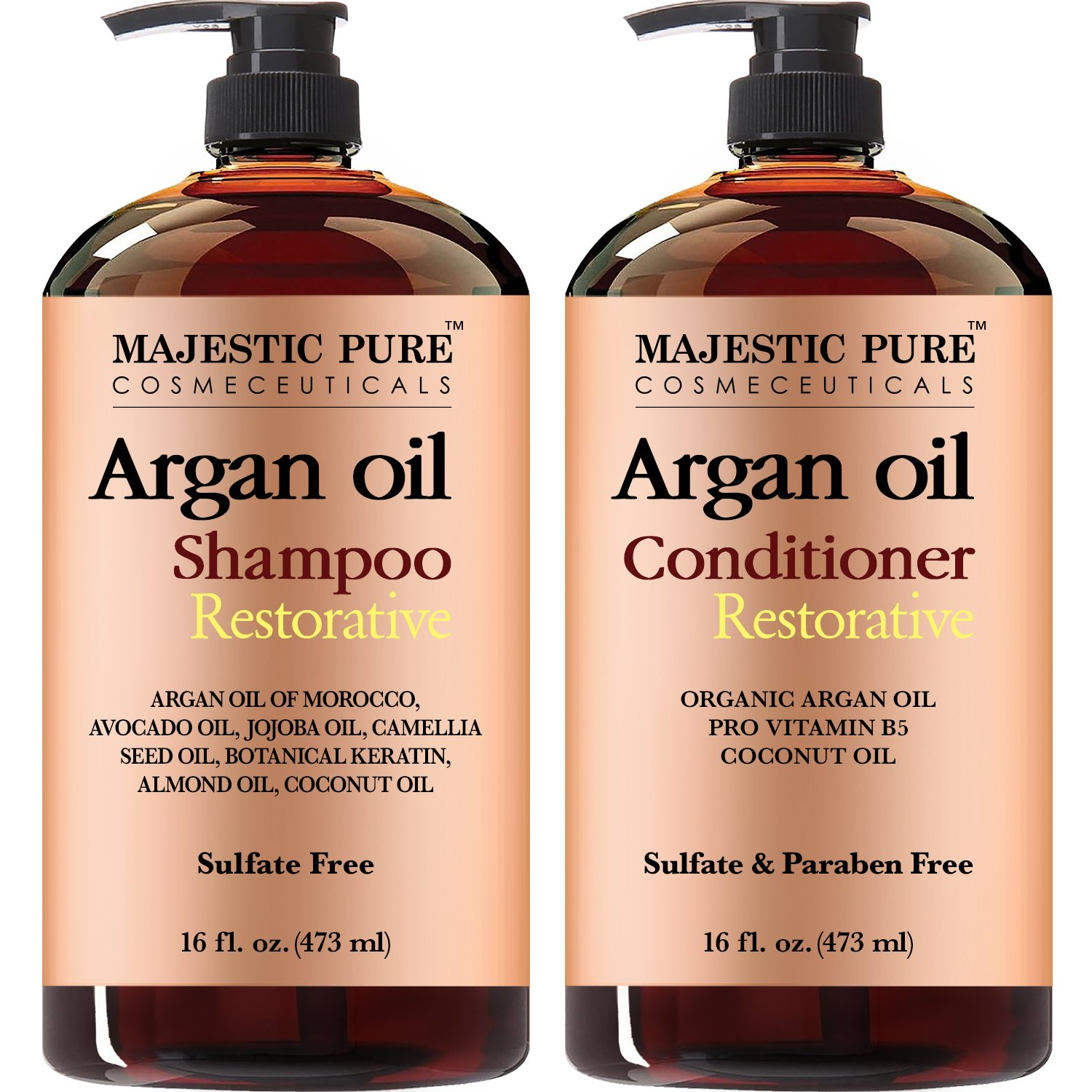 Argan Oil Shampoo and Conditioner, from Majestic Pure, Sulfate Free, Vitamin Enriched, Volumizing & Gentle Hair Restoration Formula for Daily Use, For Men and Women, 16 fl oz each … by Majestic Pure