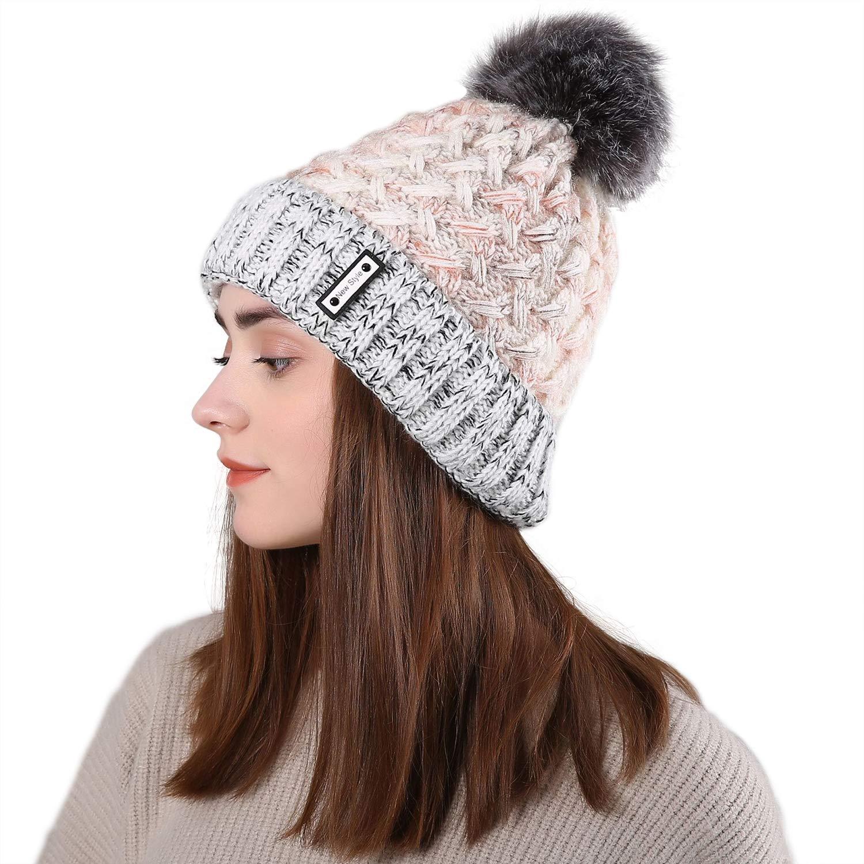 ANSUG Femmes Bonnet Bonnet Bonnet avec Pompon Doublure Doublure Polaire Chaude Et Confortable