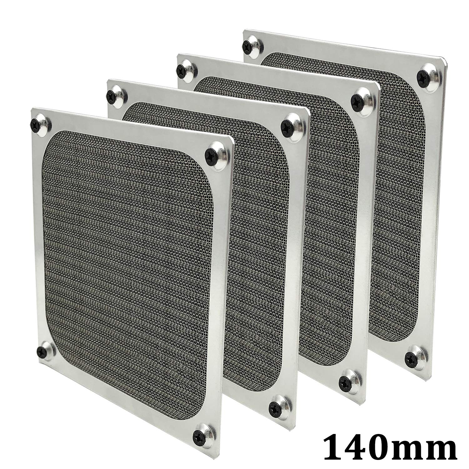 140mm PC Computer Case Fan Dust Filter Grills Dustproof Case Cover with Screws, Aluminum Frame Ultra Fine Stainelss Steel Mesh, Silver Color - 4 Pack