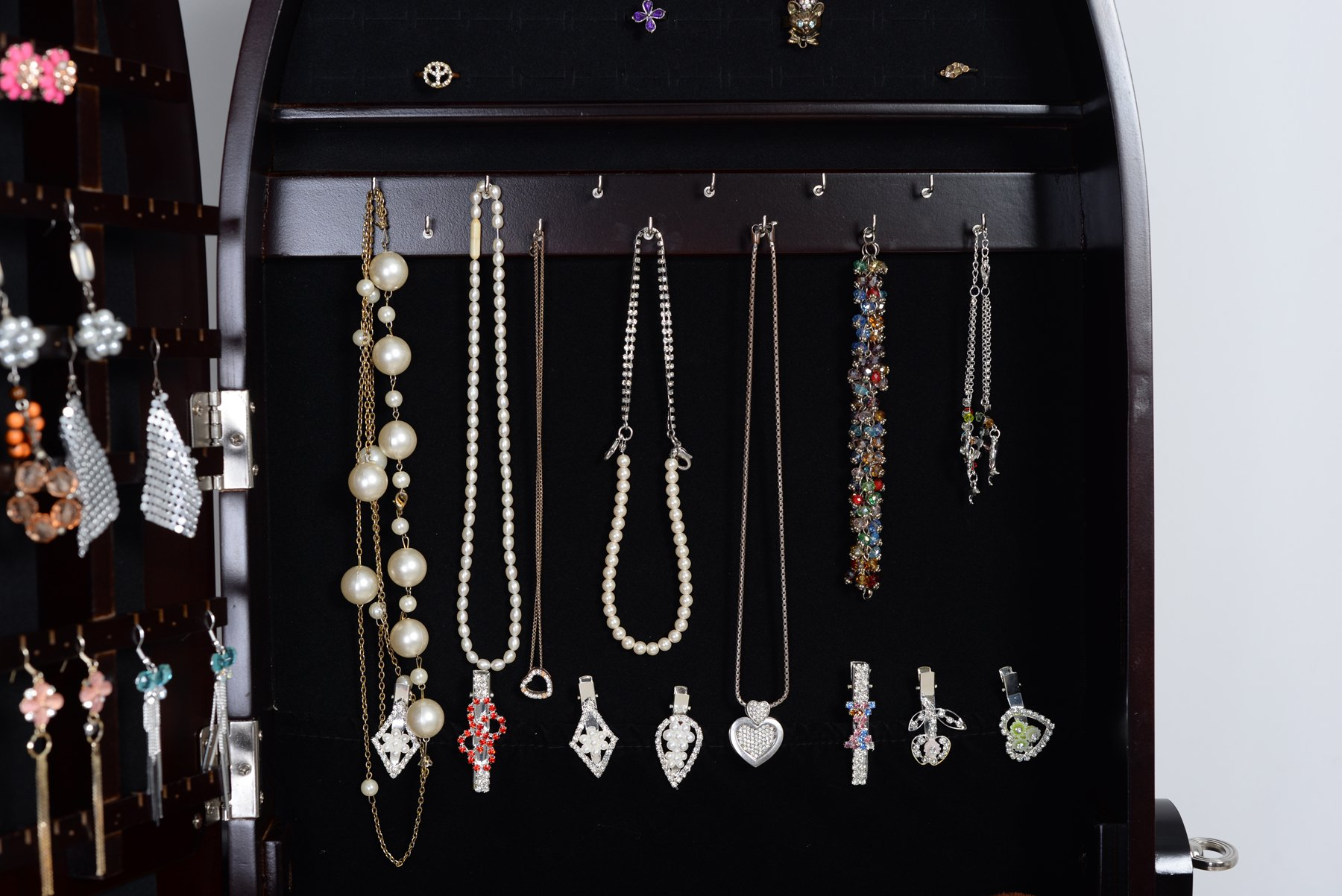 Organizedlife Brown Luxury Full Length Adjustable Mirror Oval Jewelry Armoire Cabinet with Drawers by Organizedlife (Image #5)