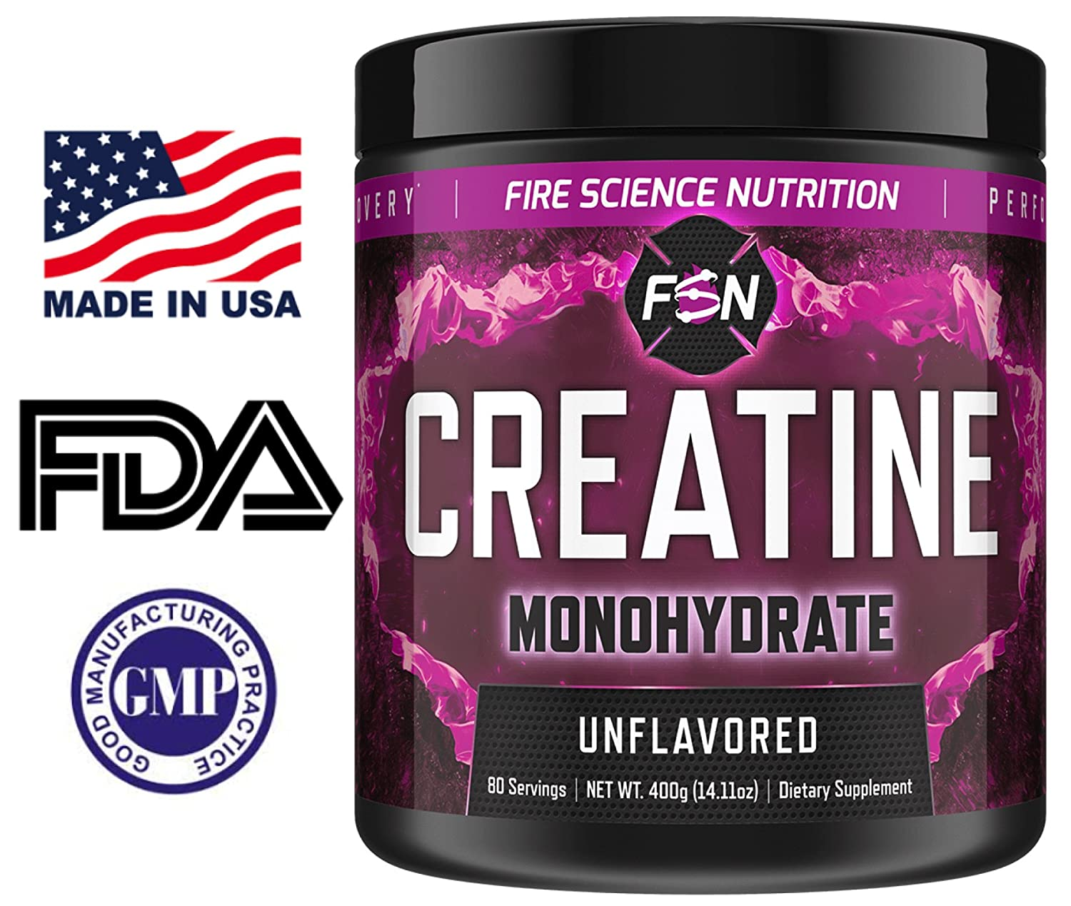 Fire Science Nutrition 100 Creatine Monohydrate – NO Added Sugars or Fillers – Boost Muscle Growth, Increase Strength – Made in the USA – 80 Servings