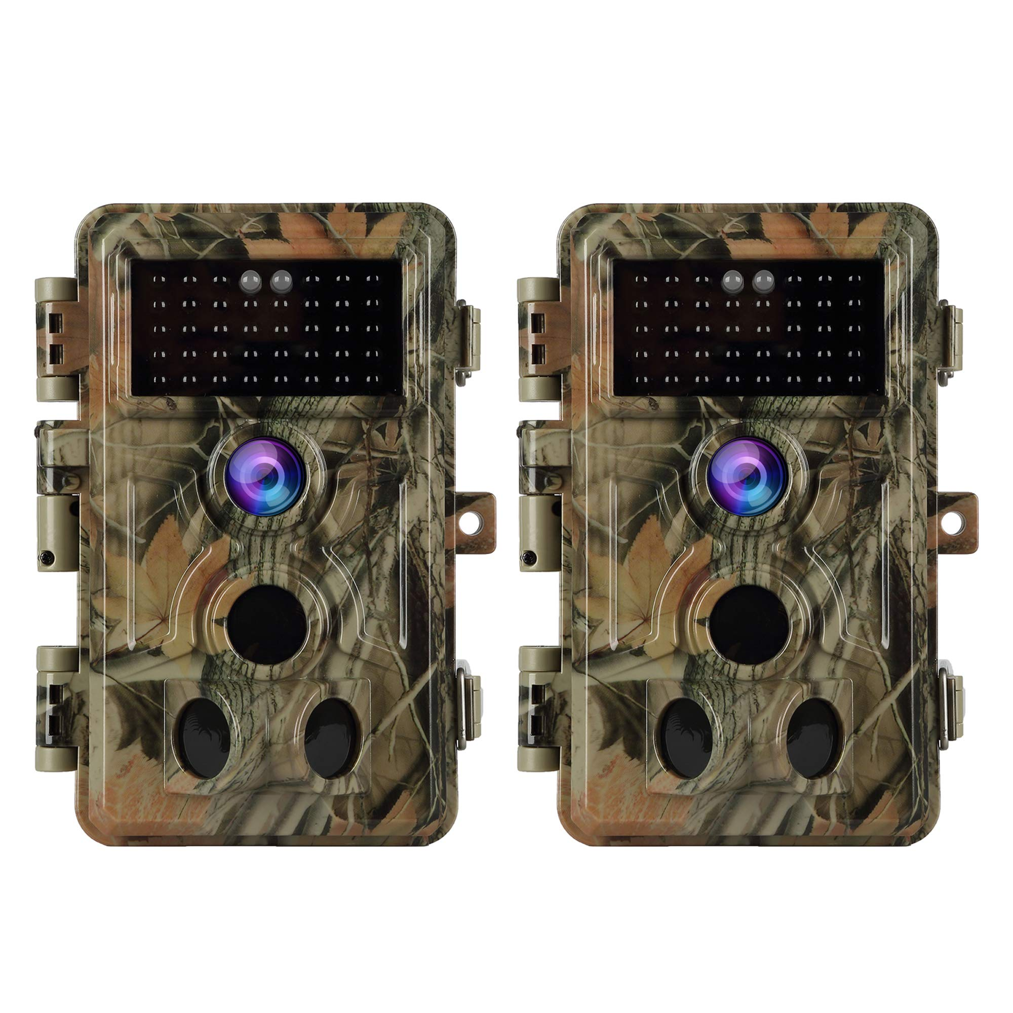 BlazeVideo 2-Pack 16MP 1080P Trail Game Cameras with Night Vision Motion Activated Waterproof IP66 No Glow Infrared IR Wildlife Deer Hunting Cam Video Tracking & Monitoring 0.2S Trigger Speed