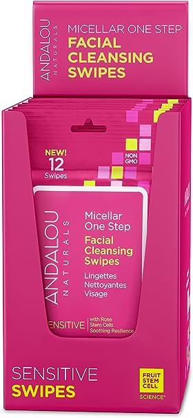 Andalou Naturals - Toallitas de maquillaje con micelar, 12 unidades, 6 unidades, con agua micelar para una limpieza facial y eliminación de maquillaje fácil para tipos de piel sensibles: Amazon.es: Belleza