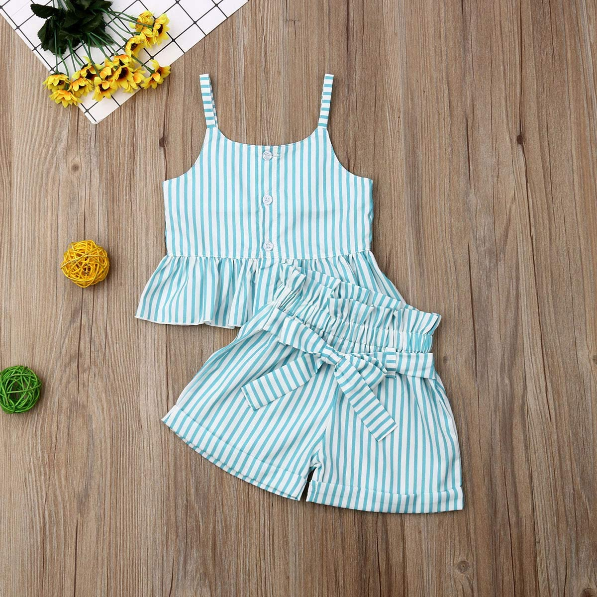 Infant Baby Girls Summer Outfits Halter Button Ruffled Camisole Tank Tops Bowknot Shorts Striped Casual Clothes Set 2Pcs