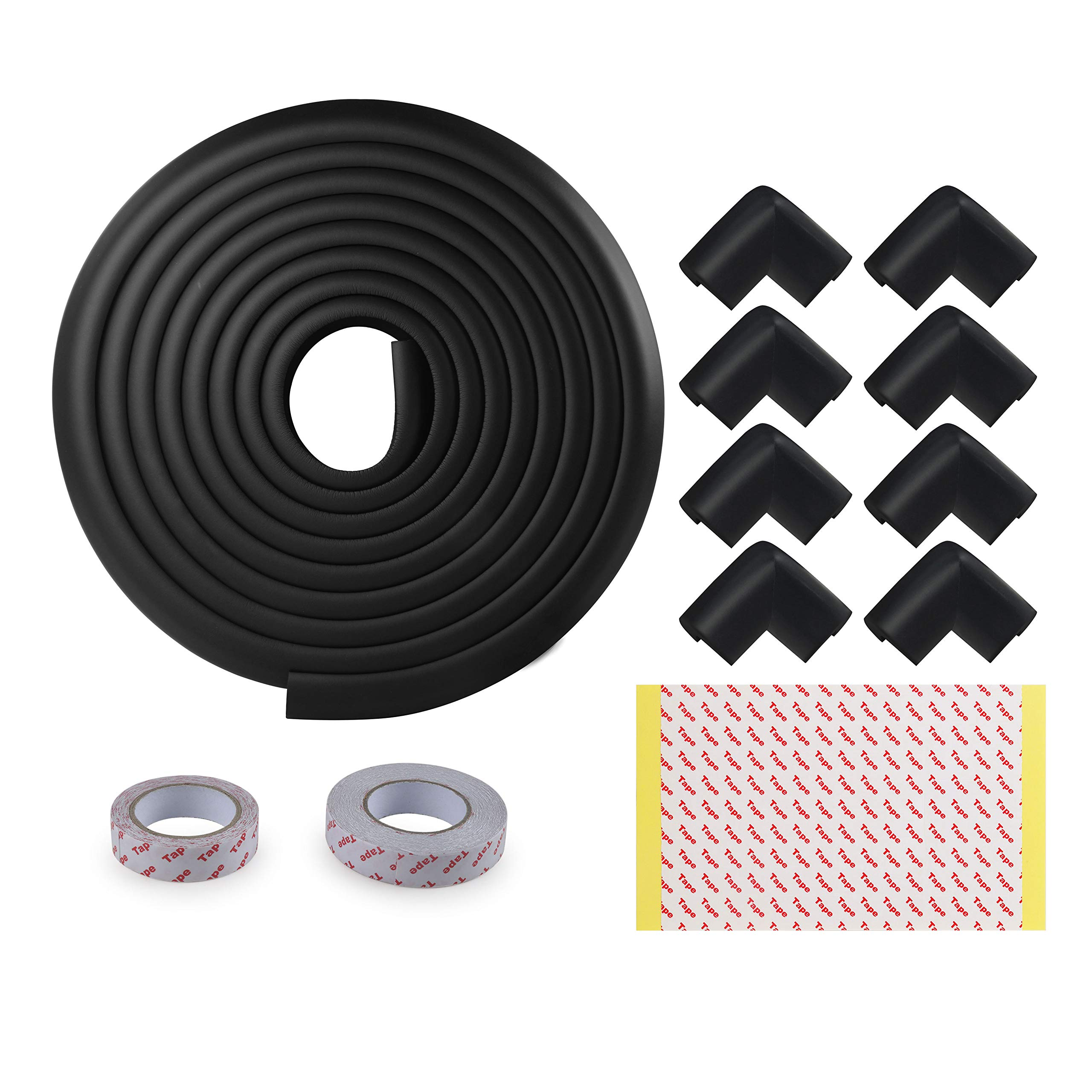 Table Edge Protector, WEBI [16.4ft Edge+8Corners+2Tapes] Kids Child Safety Corner Guard Long Cushion Furniture Bumper Baby Proofing Home Kit for Coffee Desk Fireplace Hearth Counter Top,Black