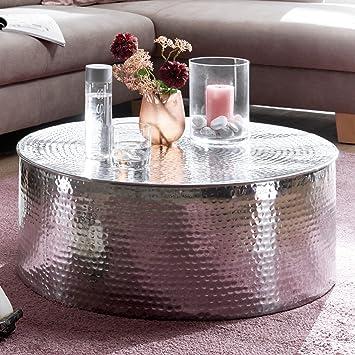 Finebuy Couchtisch Rahim 75x31x75 Cm Aluminium Beistelltisch Silber