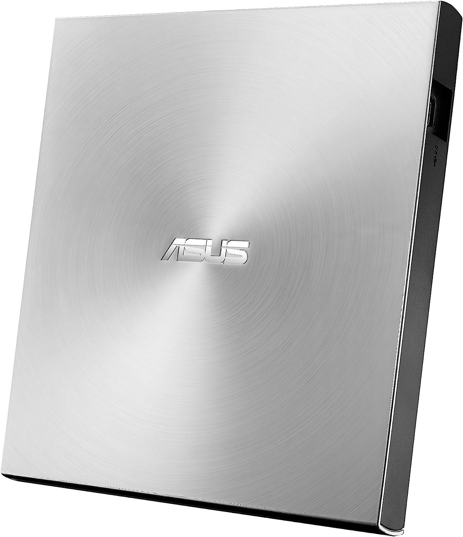ASUS ZenDrive U9M SDRW-08U9M-U - Unidad de Disco óptico (8X, USB Tipo C + Tipo A, Compatible con Mac, 13.9 mm ultradelgada, compatibilidad con M-Disc, encriptación de Disco, E-Green, E-Media), Plata