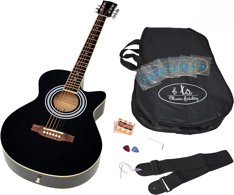 ts-ideen 4551 - Kit de guitarra acústica (tilo americano), color negro