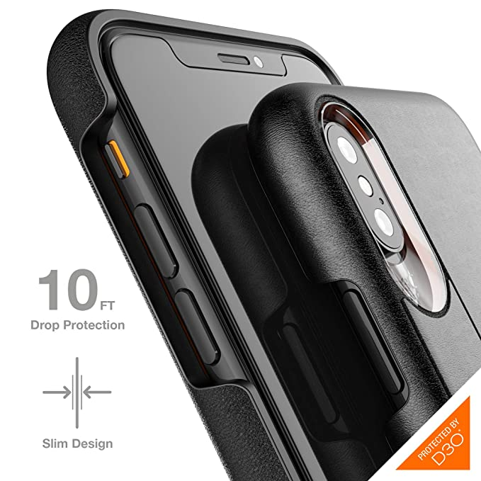 wholesale dealer 48c34 11c04 Gear4 Knightsbridge Leather Case with Advanced Impact Protection [  Protected by D3O ], Slim, Tough Design for iPhone X/XS – Black