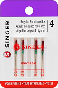 SINGER 4877 Universal Regular Point Machine Needles for Woven Fabric, Size 70/9, 4-Count