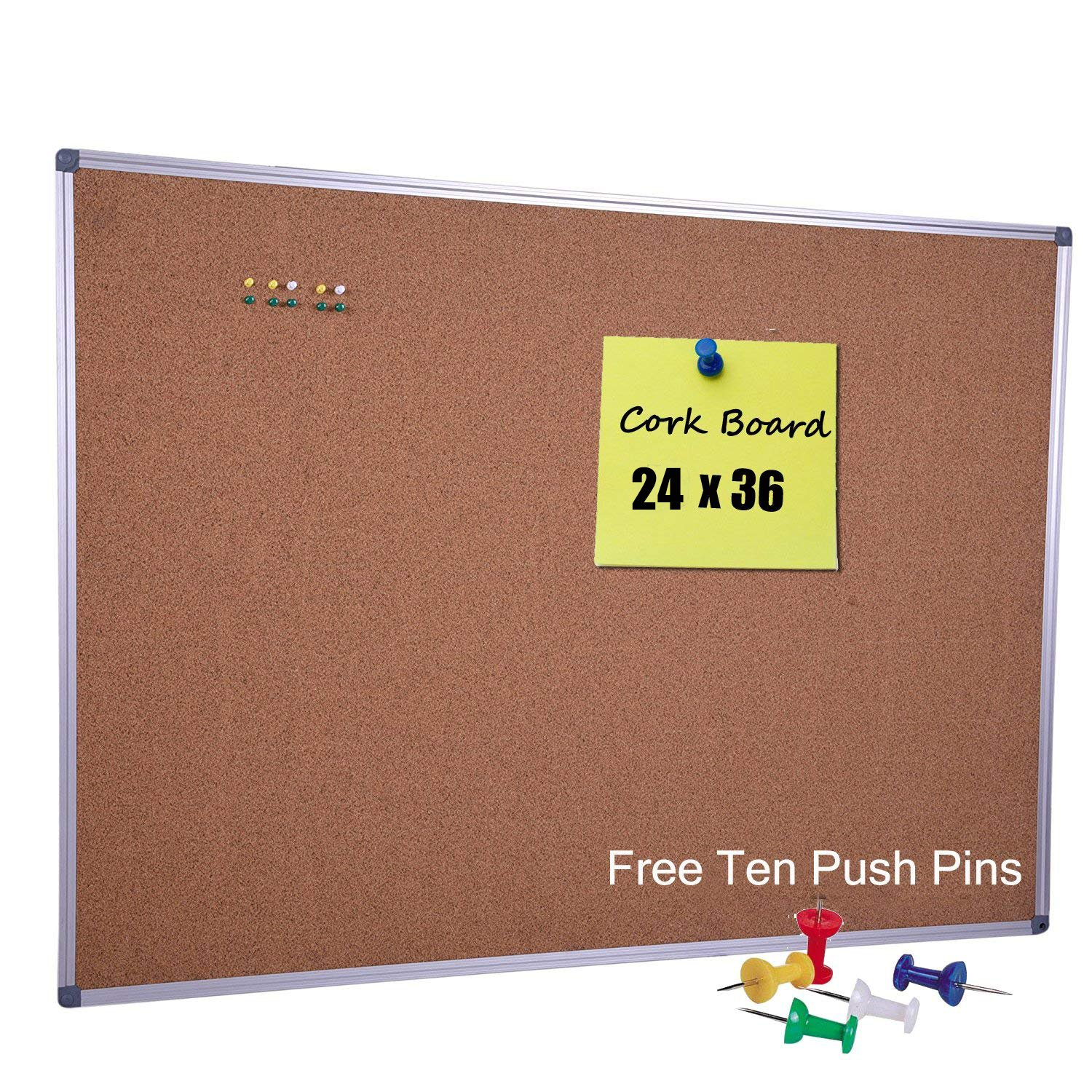 36 x 24 inch Cork Board Notice Bulletin Message Board with Satin-Finished Aluminum Frame for Home Office Classroom School, 10 Free Push Pins Included