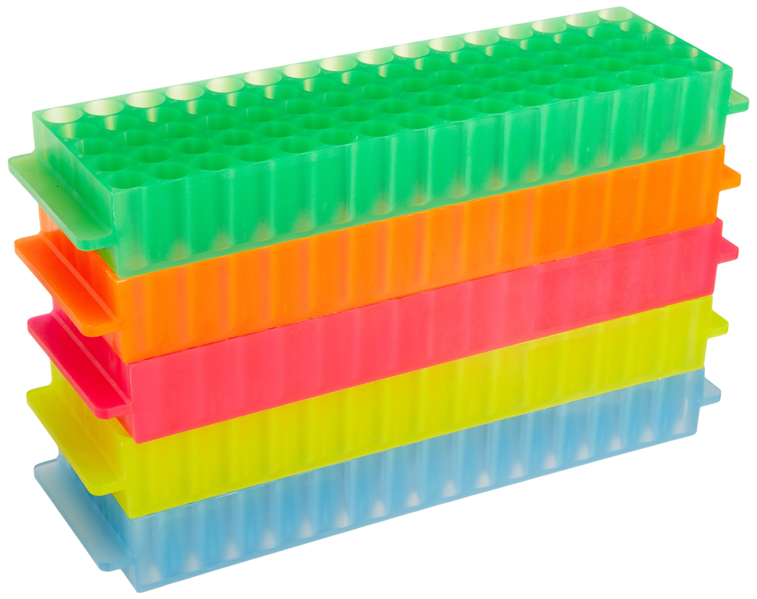 Bio Plas 0061 Polypropylene 80 Well Microcentrifuge Tube Rack, Autoclavable, Assorted (Pack of 5) by Bio Plas