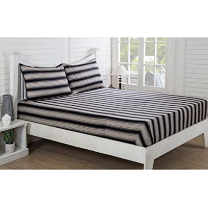 Maspar Festive Solace Bouyant 210 TC Cotton Single Bed Sheet With 1 Pillow  Cover   Striped