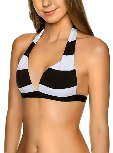 oodji Ultra Mujer Sujetador Bikini a Rayas Blancas y Negras: Amazon.es: Ropa y accesorios