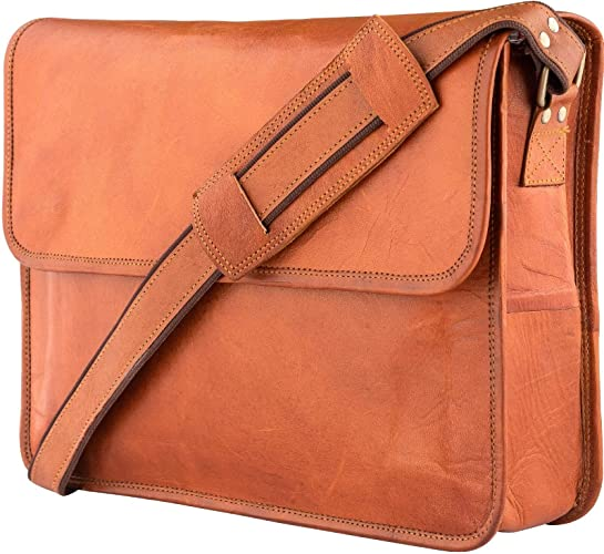 Color : Brown, Size : M MUMUWU Mens Messenger Bag First Layer Leather Business Handbag Casual Leather Mens Briefcase