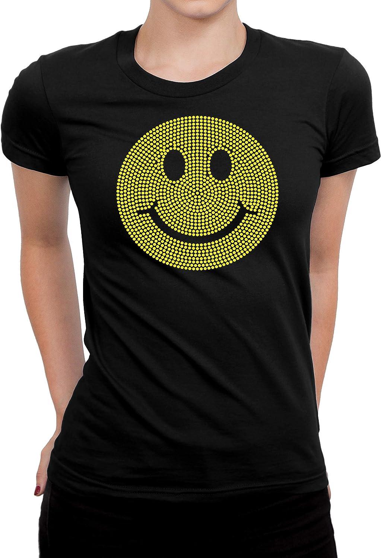 Emoji Rhinestones Bling T-Shirts, Black Color T-Shirt