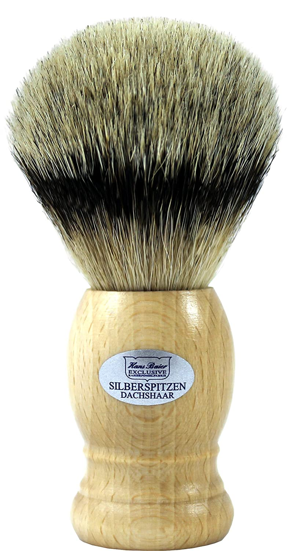 Hans Baier Exclusive Brocha de Afeitar (pelo de tejón punta de plata real–Mango de madera de haya 53103