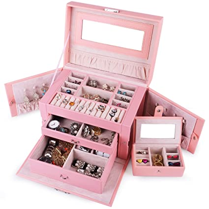 Amazoncom Kendal Large Leather Jewelry Box Case Storage