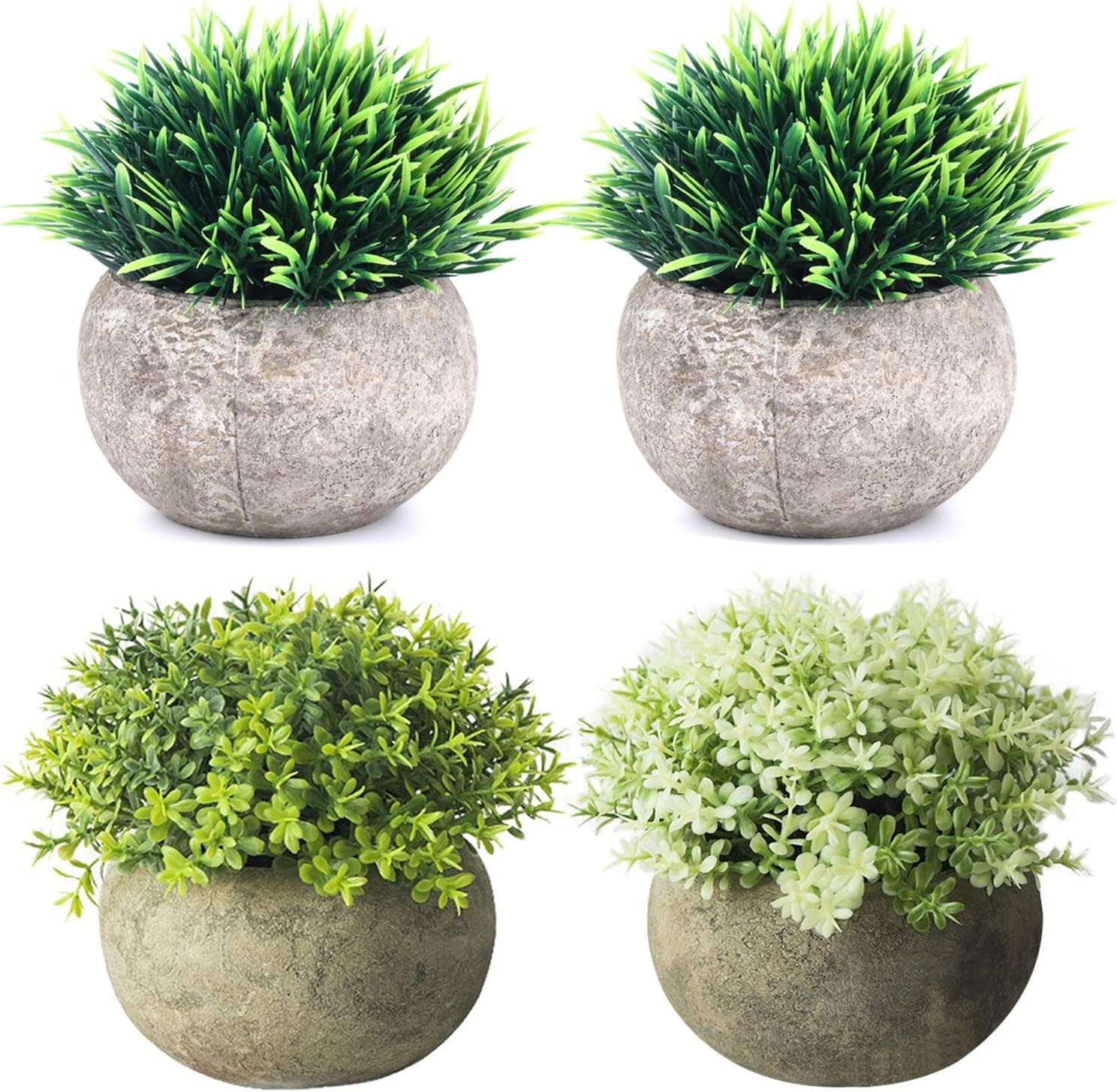 THE BLOOM TIMES 4 Packs Mini Potted Fake Plants for Bathroom/Home Office Decor, Small Artificial Plants in Pots Faux Greenery for House Decorations
