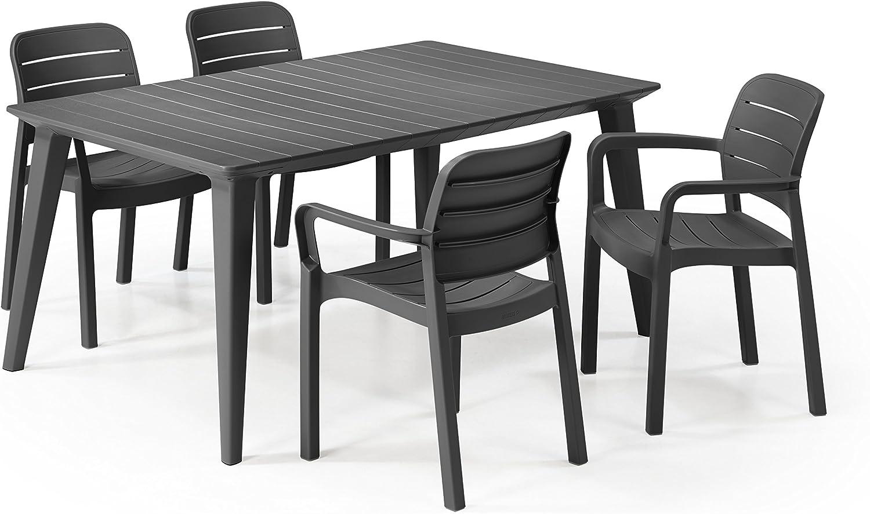 Keter - Set de mobiliario Lima/Tisara (mesa + 4 sillas), color grafito