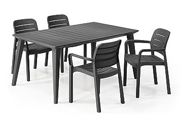 Keter - Set de mobiliario Lima/Tisara (Mesa + 4 sillas), Color Grafito: Amazon.es: Jardín
