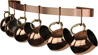 "product image for Handcrafted 24"" Curved Wall Rack Utensil Bar w 6 Hooks Brushed Copper"