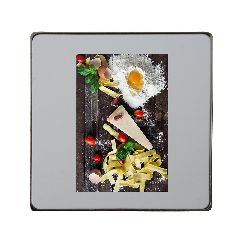 Pasta, queso, huevo, alimentos, italiano Metal cuadrado imán para ...