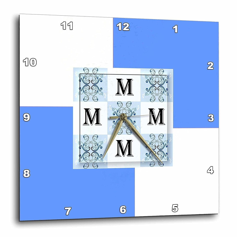 10 by 10-Inch 3dRose dpp/_48912/_1 Monogram M Sky Blue Smudge Art Monogram Squares Wall Clock