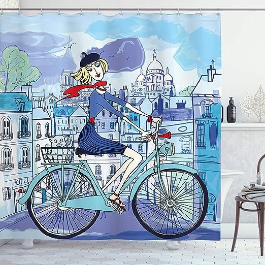 ABAKUHAUS París Cortina de Baño, Mujer en Bicicleta con el Gato ...