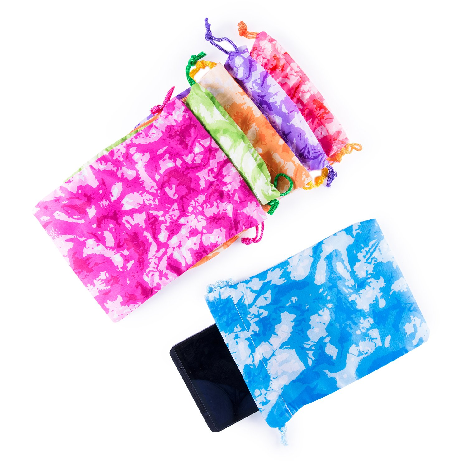 SZ043 Arts /& Crafts Activity Assorted 12 Pack Super Z Outlet Tie-Dye Camouflage Drawstring Bags Party Favors