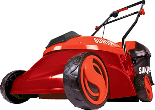 Sun Joe MJ401C-XR-RED 14-Inch 28V 5 Ah Cordless Lawn Mower w Brushless Motor, Red