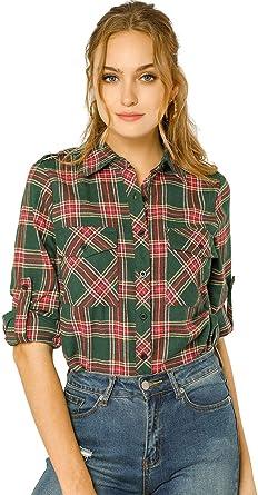 Allegra K Camisa De Cuadros Bolsillos con Solapa Mangas Enrolladas para Mujer: Amazon.es: Ropa y accesorios