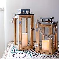 Lights4fun - Farolillo Pequeño de Madera con Vela LED a Pilas y Asa de Cuerda