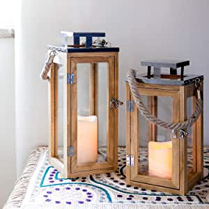 Lights4Fun Regular Wooden Battery Operated Led Candle Lantern 26Cm with Rope Handle