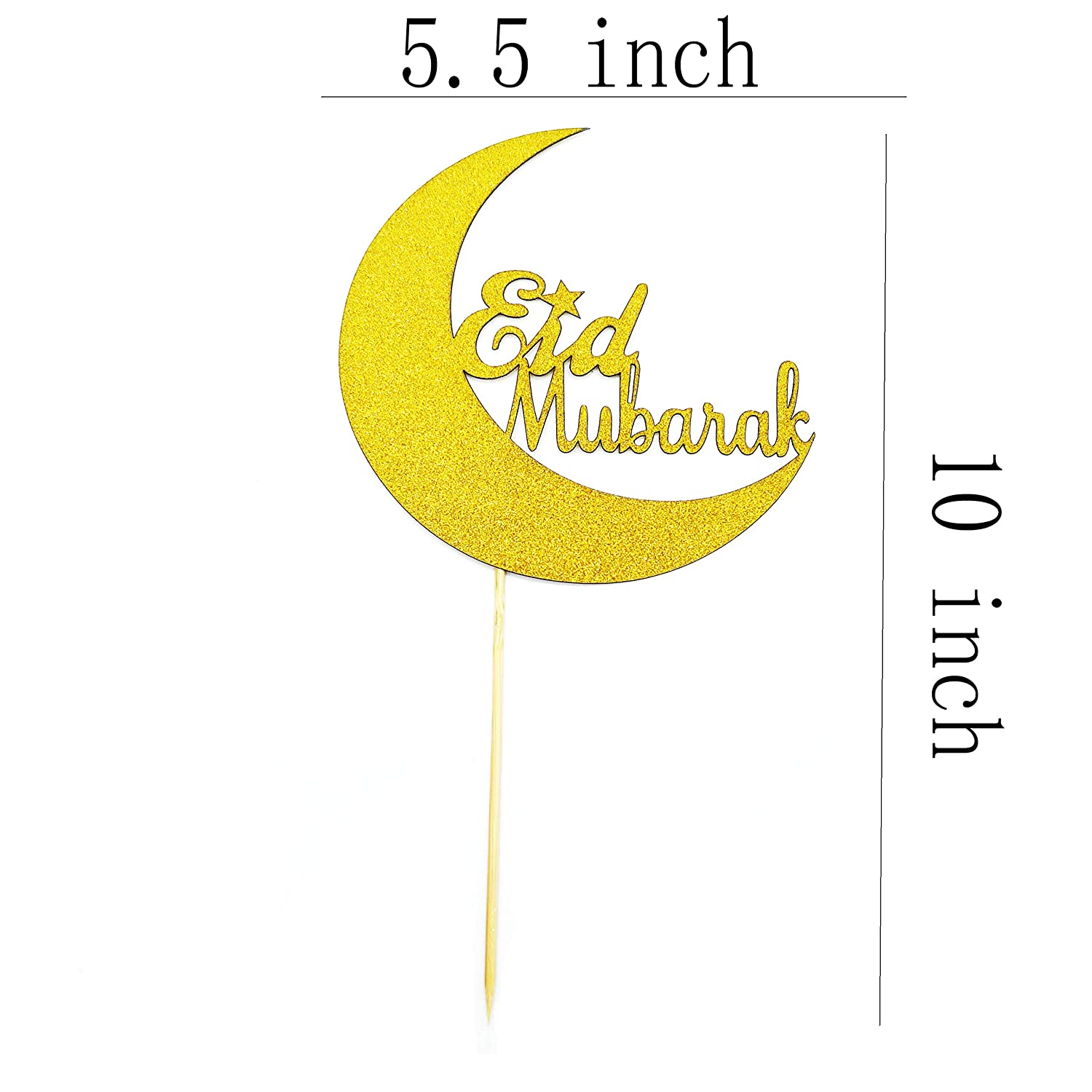 Gold Eid Mubarak with Moon Cake Toppers Eid Party Decorations Muslim Islam Celebration Eid Party Baby Shower Birthday Party Decorations Set of 2