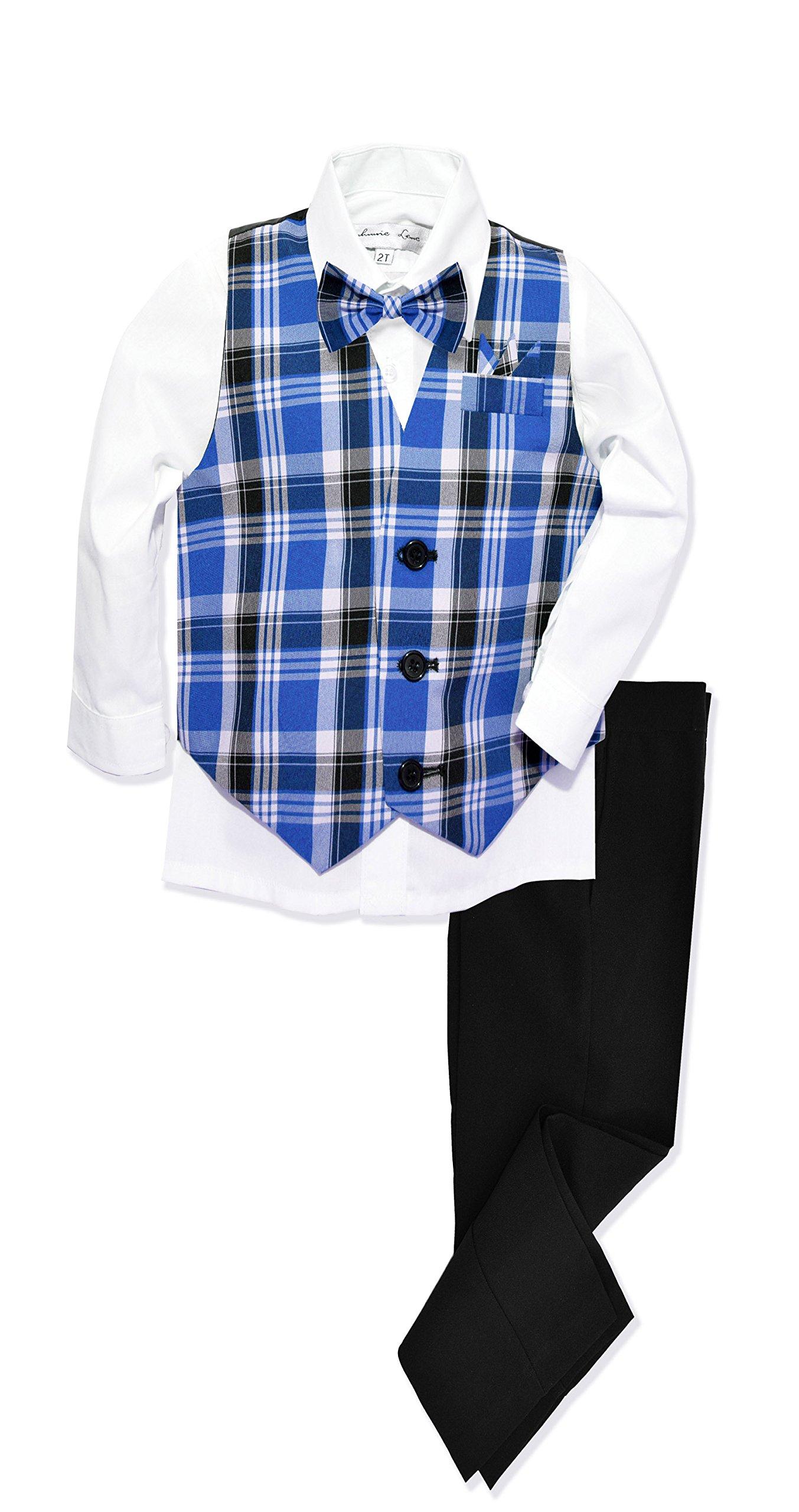 JL46 Boys Formal Plaid Dress Wear Vest Set (4T, Royal) by Johnnie Lene (Image #2)