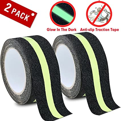 DEALIKEE Anti Slip Traction Tape, None Skid Glow In The Dark Walk Strip  Safety Tape