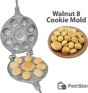 Walnut 8 Cookie Mold (Oreshek + flower) Maker Oreshki Rissian Soviet Cookies Pastry Oreshnitsa Орешница by PetriStor
