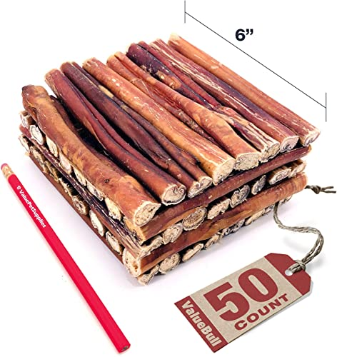 ValueBull Bully Sticks for Dogs, Thick 6 Inch, 50 Count – All Natural Dog Treats, 100 Beef Pizzle, Single Ingredient Rawhide Alternative, Grass Fed, Fully Digestible