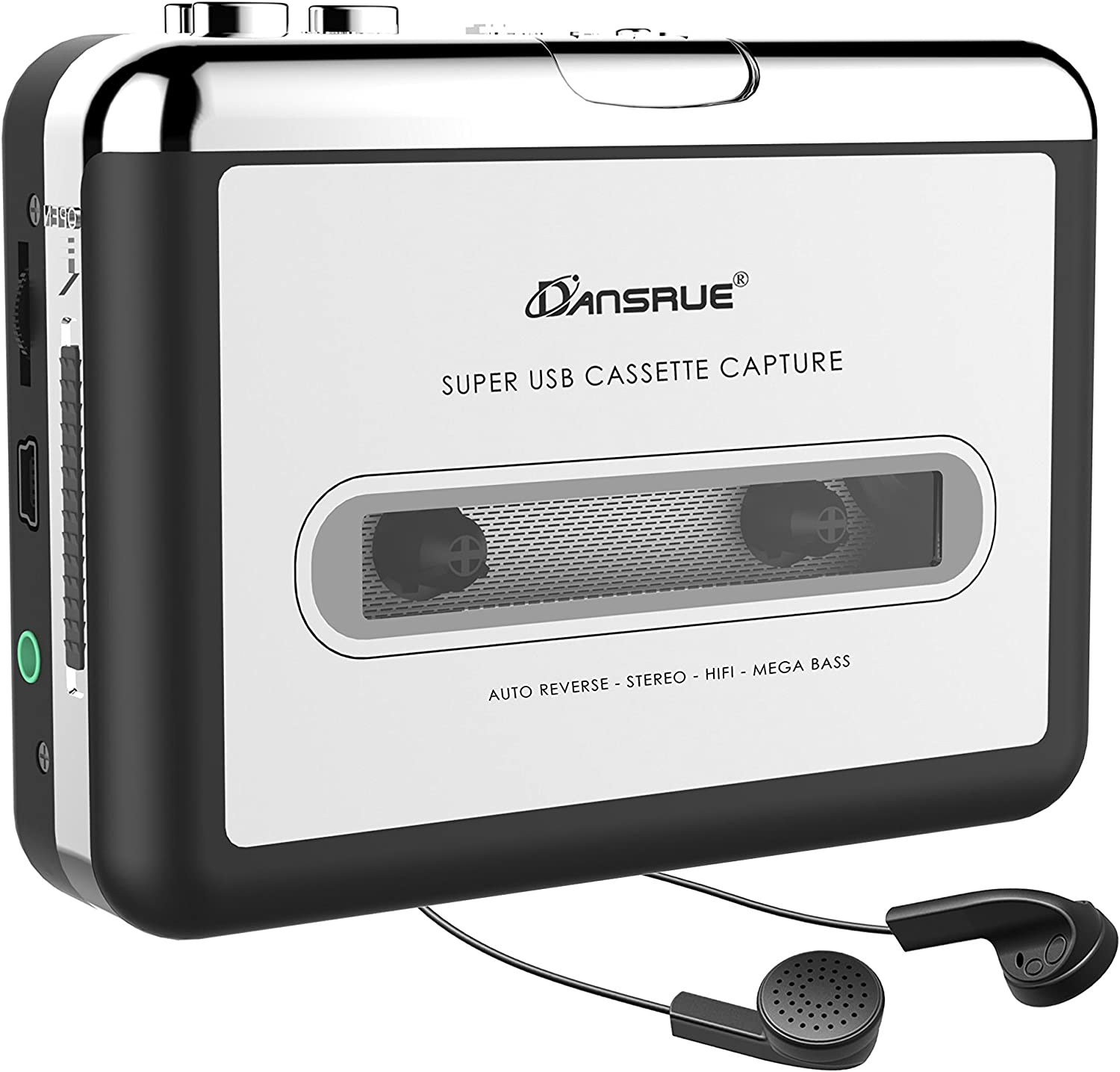 Dansrueus Updated Cassette to MP3 Converter Digital Files for Laptop PC and Mac with Headphones from Tapes to Mp3 New Technology,Silver80 USB Cassette Player from Tapes to MP3