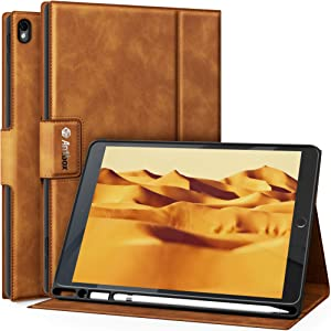 "Antbox iPad Air (3rd Gen) 10.5"" 2019 / iPad Pro 10.5"" 2017 Case with Built-in Apple Pencil Holder Auto Sleep/Wake Function PU Leather Smart Cover for iPad 10.5 Inch (Brown)"