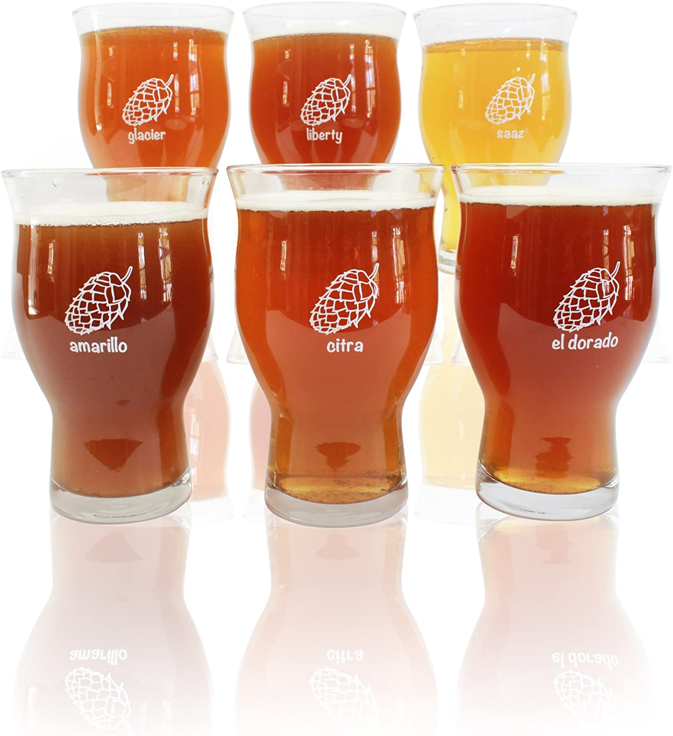6 Pack 20oz Ultimate Pints - Each Glass is Uniquely Labeled - Never Lose Your Glass at a Party.
