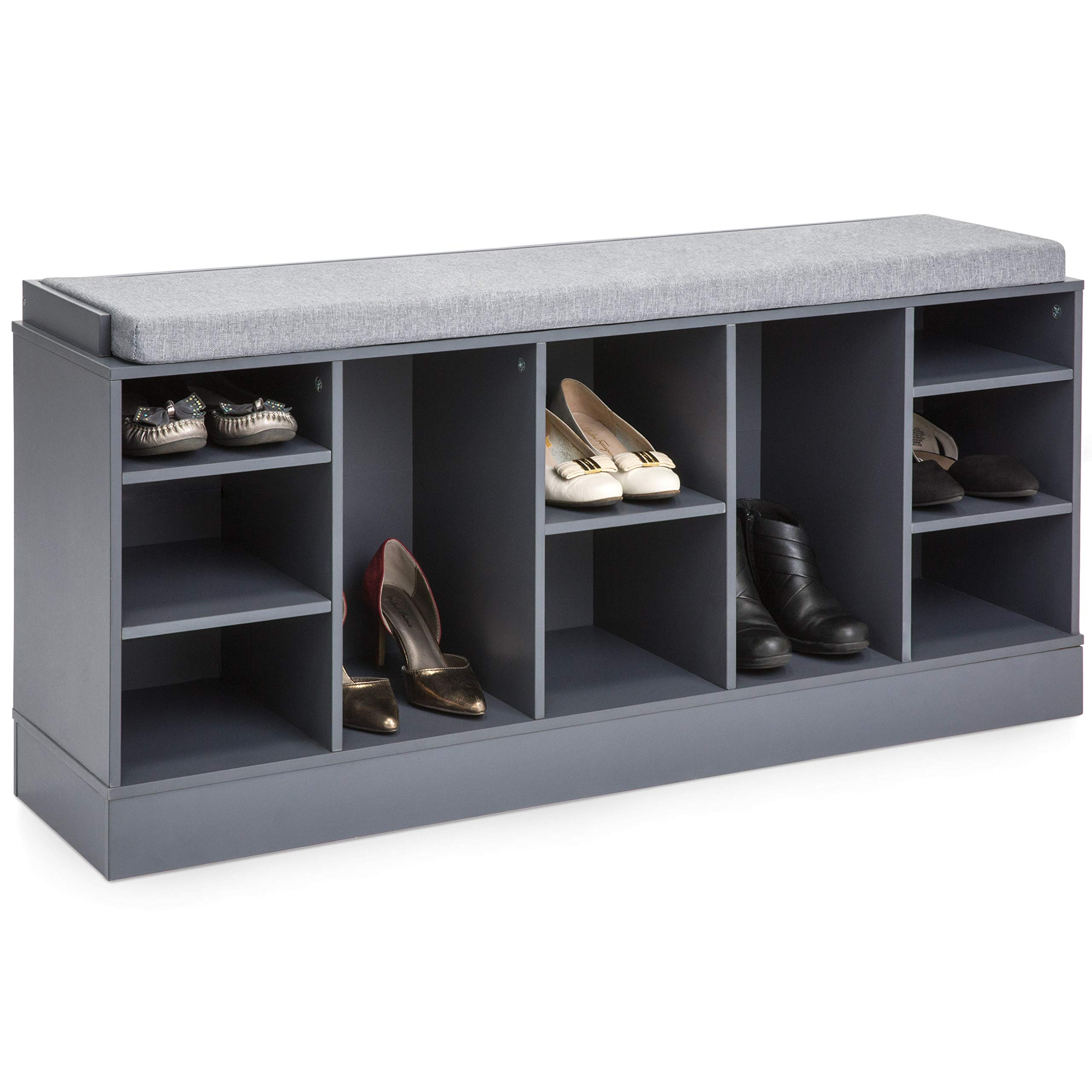 Best Choice Products Multi-Functional Space Saving Organization Storage Shoe Rack Bench for Entryway, Bedroom, Living Room w/Padded Seat, 10 Cubbies, Gray by Best Choice Products